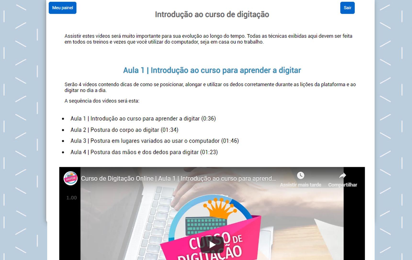 curso de digitação online plataforma para aprender a digitar